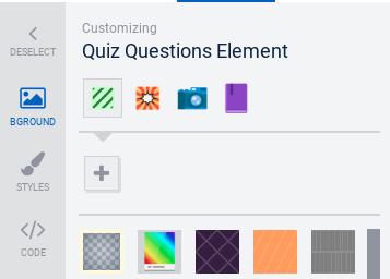 Quiz questions element selected