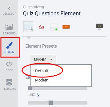 Quiz questions Styles tab