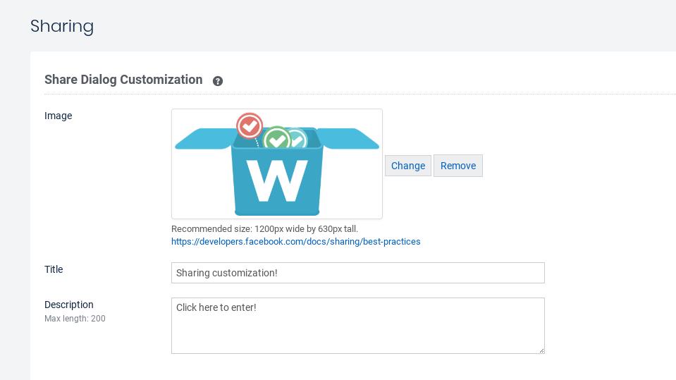 Share customization screen