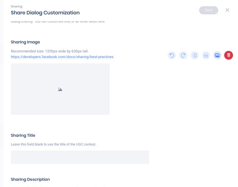 Share dialog customization panel