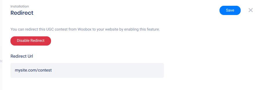 Redirect URL panel