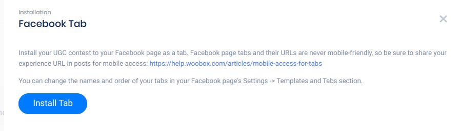 Facebook tab panel