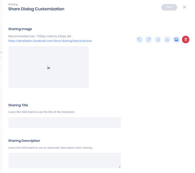 Share customization panel