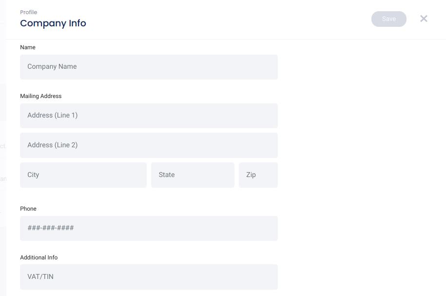 Account settings - company info