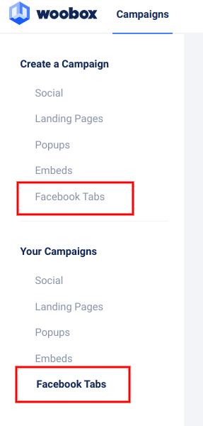 Left nav - Facebook tabs