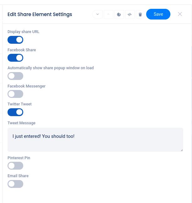 Share icon element edit area