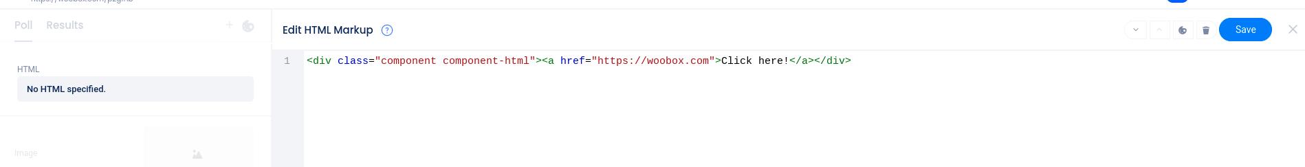 HTML editor area