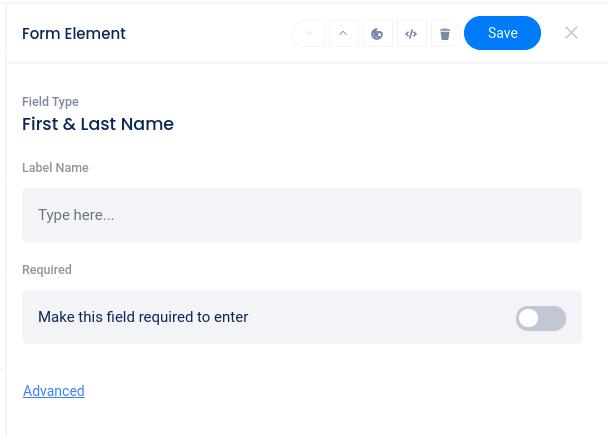 Name field edit menu
