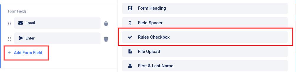Add rules checkbox