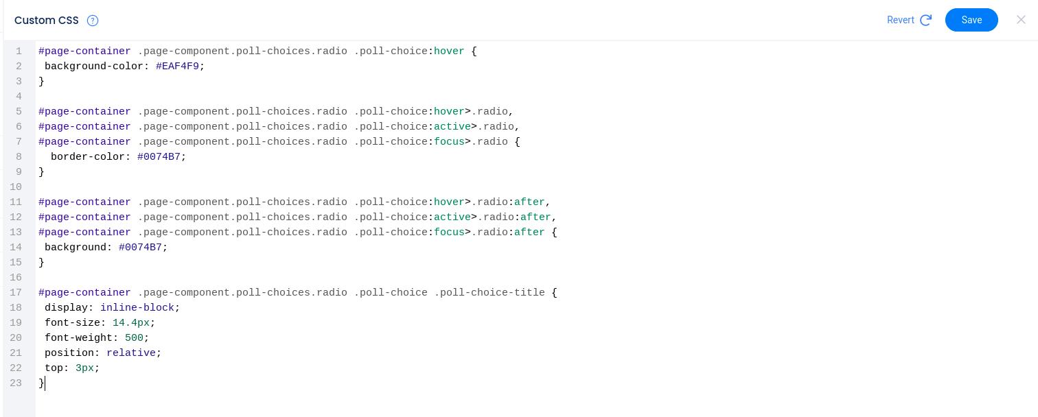 Custom CSS editor with code