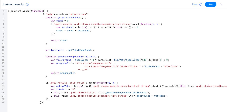 Custom javascript editor with code