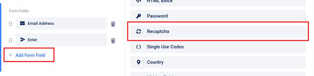Add recaptcha field to form