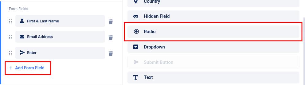 Add radio button field to form