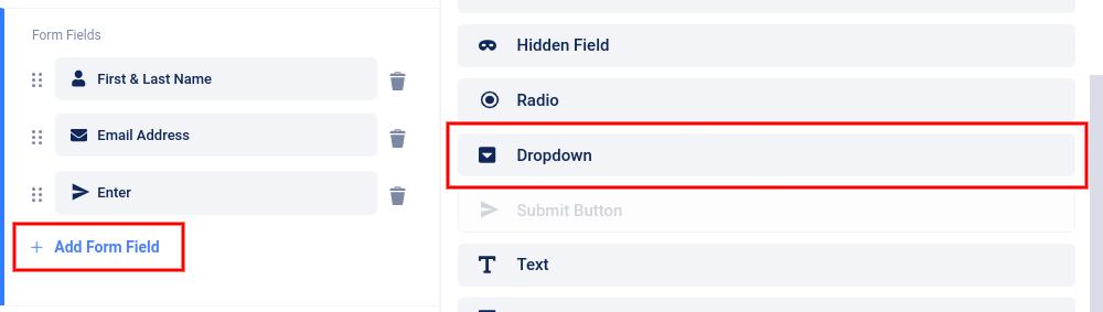 Add dropdown menu field