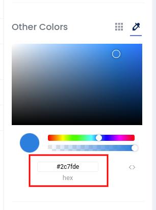 Custom colors hex code field