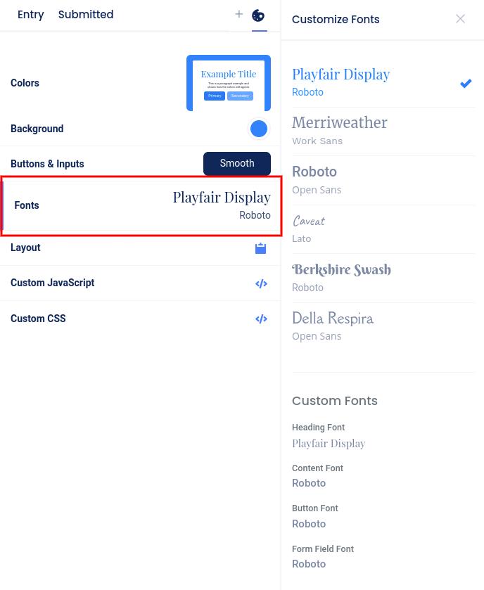 Design section - Fonts