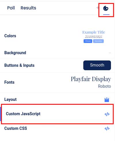 Design section - custom JavaScript