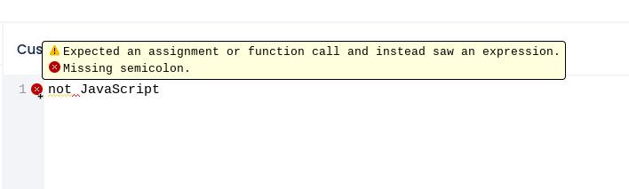 JavaScript error message in editor